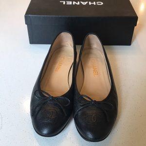 Chanel ballerina black flats